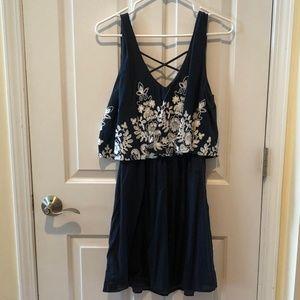 Navy Blue Floral Mini-Sundress